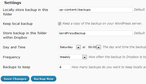 WordPress to Dropbox