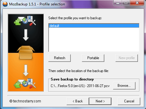 mozbackup default profile