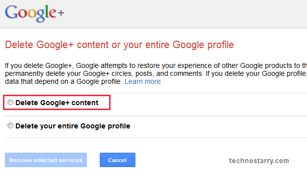 delete google plus