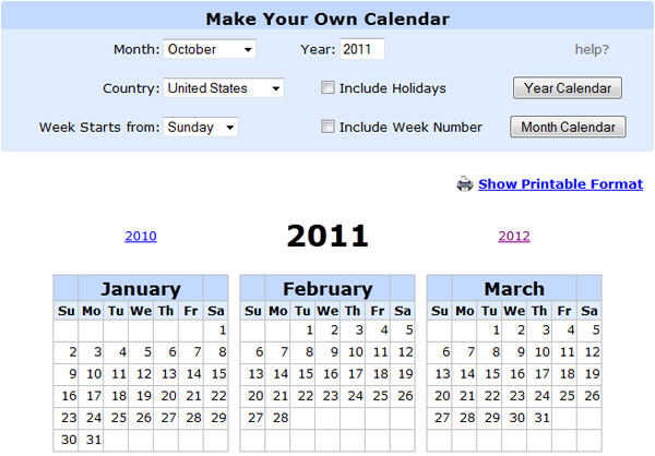 how to create a printable calendar online for free