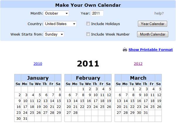 printable calendar online