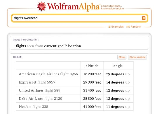 Wolfram alpha flight tracker