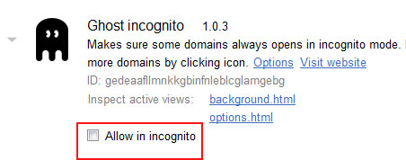allow incognito