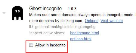 allow incognito