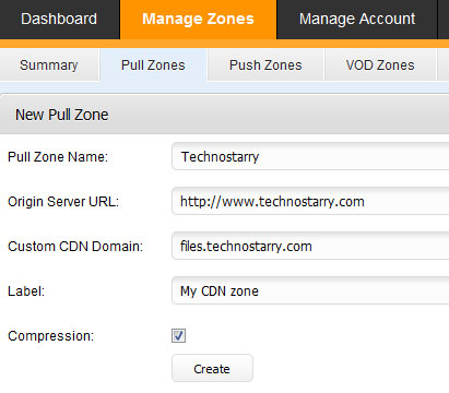create CDN zone