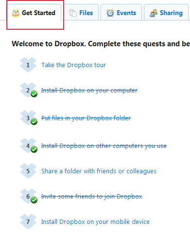 Dropbox getting started