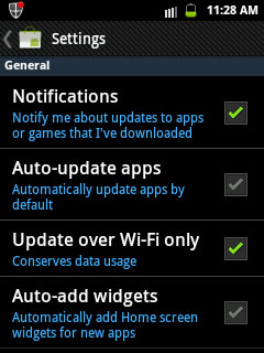 Android market settings