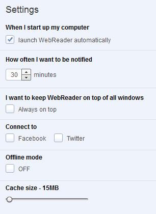 webreader settings