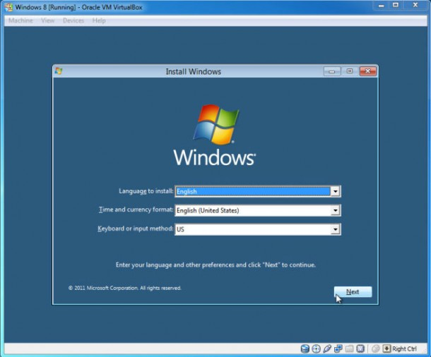 windows 8 running