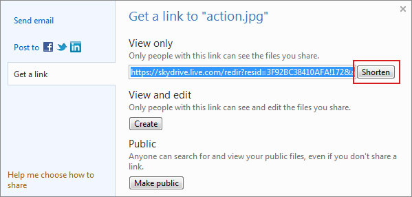 Shorten SkyDrive link