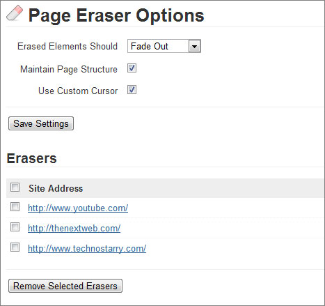 page eraser options