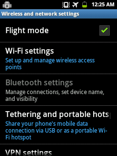 Flight mode on Android