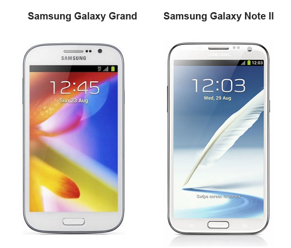 galaxy grand and note 2 compared