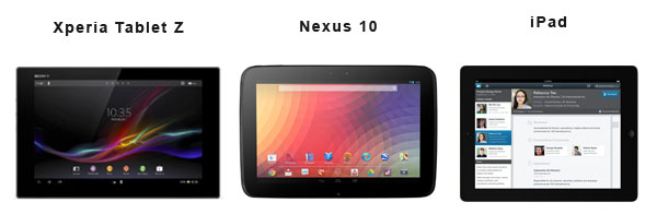 Xperia z tablet vs nexus 10 vs ipad