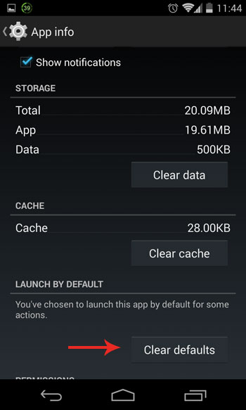 clear default app on Android