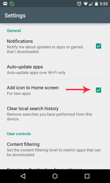 android new icon settings