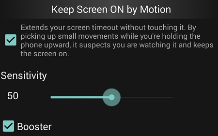 keep screen on by motion
