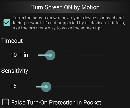 turn screen on by motion