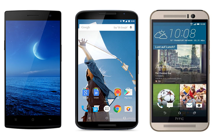 From right to left: Oppo Find 7a, Motorola Nexus 6 and HTC One M9